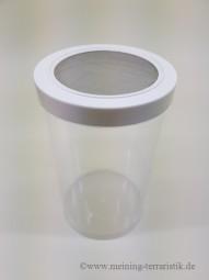 Klarsichtdose 1 Liter, Deckel mit Edelstahlgaze 0,5 mm