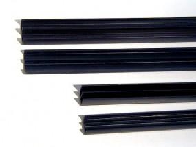 Glasführungsprofil schwarz für 4mm Glas, 2m komplett oben u. unten